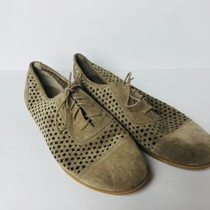 Franco Sarto Brown Perforated Leather Oxfords